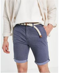 Tom Tailor Shorts chinos es con cinturón - Azul