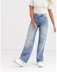 Monki Yoko Wide Leg Organic Cotton Jeans - Blue