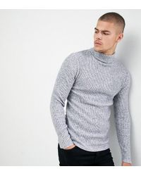 9b949d7e24c6ef SIKSILK - Knitted Roll Neck Jumper In Grey Exclusive To Asos - Lyst