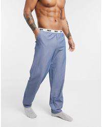 ASOS Lounge - Geweven Pyjamabroek Met Contrasterende Tailleband Met Logo - Blauw