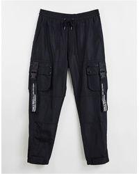 Liquor N Poker Nylon Cargo Trousers - Grey
