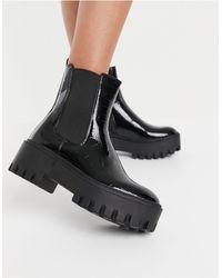 SIMMI Shoes Simmi London - Amana - Stivaletti neri coccodrillo con suola spessa - Nero