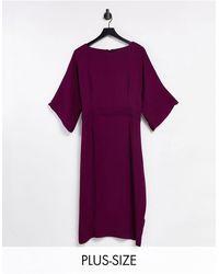 Closet London Plus Ribbed Pencil Dress - Purple