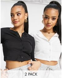 Missguided 2 Pack Long Sleeve Crop Tops With Button Front Detail - Multicolour