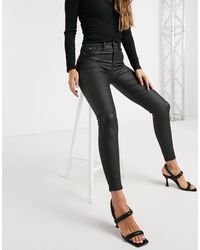 River Island Molly Waxed Coated Skinny Jeans - Black