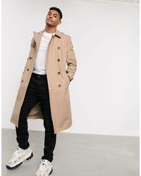 ASOS Trench-coat imperméable coupe longue avec ceinture - Taupe - Neutre