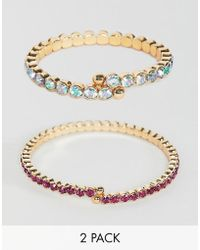 ASOS - Design Pack Of 2 Bracelets With Coloured Crystals In Gold - Lyst
