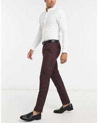Burton Pantaloni a quadri bordeaux - Rosso