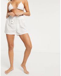 New Look Белые Пляжные Шорты С Вышивкой Ришелье -белый