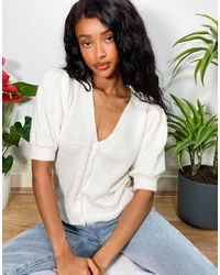 ASOS Co-ord Cardigan With Puff Sleeves - White