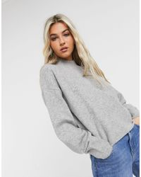& Other Stories Oversized Mock Neck Sweater - Grey