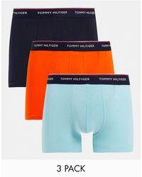 Tommy Hilfiger Набор Из 3 Боксеров-брифов Оранжевого, Черного И Синего Цвета С Логотипом На Поясе -разноцветный - Синий