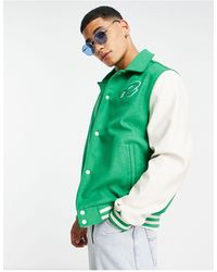 ASOS Varsity Jacket With Embroidery - Green