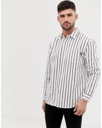Bershka - Striped Shirt In White - Lyst