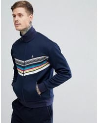 Original Penguin - Rainbow Chevron Track Jacket Slim Fit Small Logo In Navy - Lyst