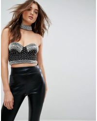 ASOS | Choker Bralet With Pearl Beading | Lyst