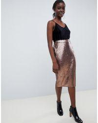 Vero Moda Sequin Pencil Skirt - Metallic