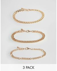 ASOS Vintage Style Bracelet Chain Pack - Metallic