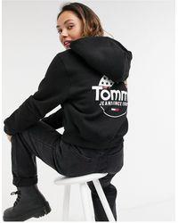 Tommy Hilfiger – Kurzer Kapuzenpullover mit Logoprint und Reißverschluss - Schwarz