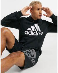 adidas Originals Adidas Training - Felpa con cappuccio e logo nera - Nero