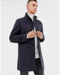 French Connection - Wool Rich Funnel Neck Coat - Lyst