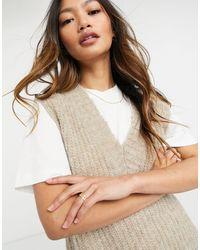 Vila Knitted Vest With V-neck - Brown