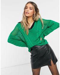 Glamorous Pull oversize côtelé à col contrastant - émeraude - Vert