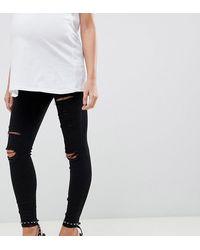ASOS Asos Design Maternity - Ridley - Skinny Jeans Met Hoge Taille, Scheuren En Onder - Zwart