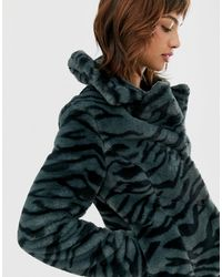 Goosecraft Faux Fur Jacket With Zebra Detail - Gray