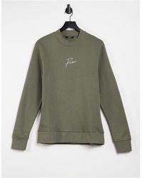 Jack & Jones Premium - Sweat-shirt d'ensemble à col montant avec logo sur la poitrine - Kaki - Vert