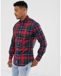 Polo Ralph Lauren Slim-fit Geruit Overhemd In Rood Met Logo