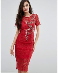 Body Frock - Bodyfrock Lace Bodycon Dress With Floral Applique - Lyst