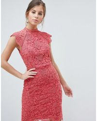 Chi Chi London - Scallop Lace Pencil Dress - Lyst
