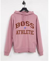 BOSS by HUGO BOSS Розовый Худи С Логотипом В Университетском Стиле X Russell Athletic Safa-розовый Цвет