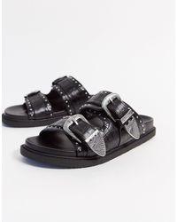 TOPSHOP Slippers Met Gesp - Zwart