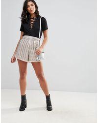 Glamorous Beaded Shorts - Natural