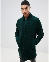 ASOS Single Breasted Cord Trench Coat In Bottle Green