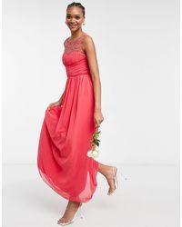 Little Mistress Коралловое Шифоновое Платье Макси С Искусственным Жемчугом Bridesmaid-оранжевый Цвет