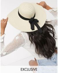 South Beach Exclusive Straw Wide Brim Hat With Black Band - Multicolor