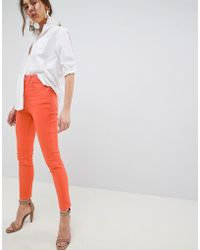 ASOS Farleigh High Waisted Slim Mom Jeans In Neon Orange With Contrast Stitch