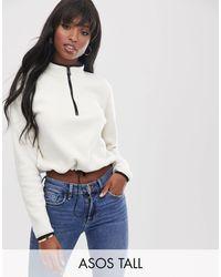 ASOS Asos Design Tall Fleece With Zip - White