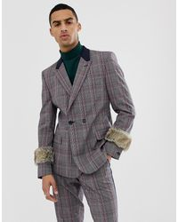 ASOS Skinny Double Breasted Suit Jacket - Gray