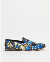 ASOS – Loafer mit Barock-Muster und Quersteg - Blau