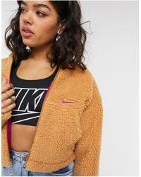 Nike - Светло-коричневая Укороченная Куртка Из Флиса Под Овчину New Look-бежевый - Lyst