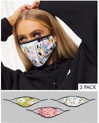Hype Lot de 3 masques en tissu à bandes ajustables et imprimés variés - Multicolore