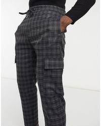 Bershka Checked Cargo Trousers - Grey