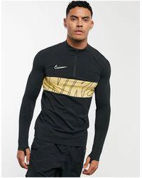 Nike Football Academy - Top con zip corta e logo sul petto nera - Nero