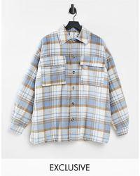Collusion Unisex - Camicia giacca effetto lana con stampa combinata a quadri - Blu