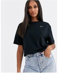 Nike Black Mini Swoosh Crop T-shirt