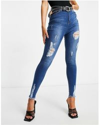 Naanaa High Waisted Ripped Skinny Jeans - Blue